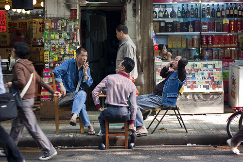 Chairs on the street in China