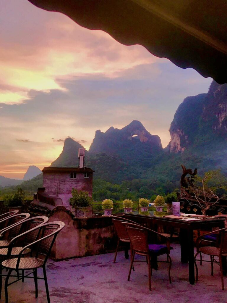 Yangshuo Luna Restaurant and Moon Hill Sunset